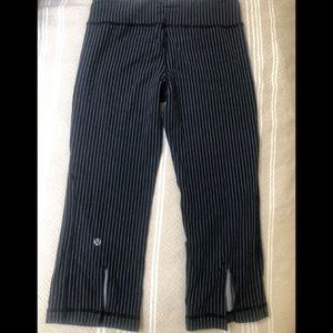 Lululemon blue and white striped crops 6